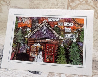 No Place Like Home, Home Sweet Home, Rustic Winter Cabin Greeting Card, Collage Art