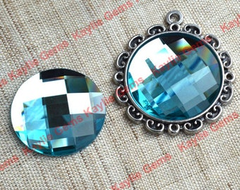 New - Mirror Glass Cabochon cab 25mm Round Checker Cut Faceted Dome -Aqua Blue - 2pcs