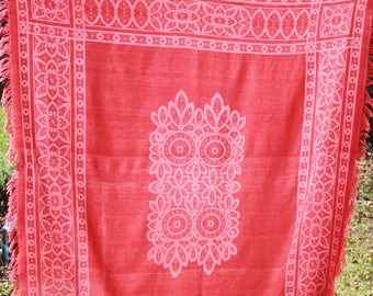 Antique Turkey Red Damask Fringed Tablecloth