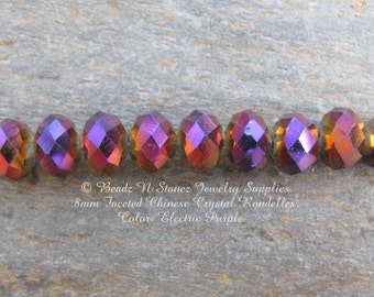 6mm Faceted Rondelle Beads, Electric Purple, China Glass Crystals