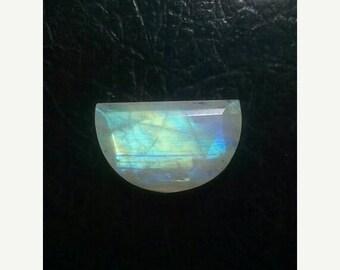 61% OFF SALE Rainbow Moonstone Moon Shape Faceted Cut