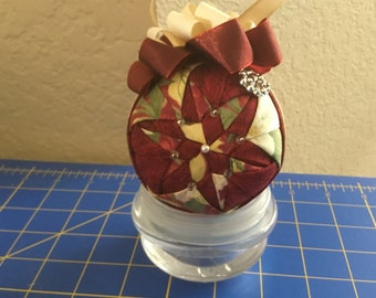 Cranberry and Gold Fabric Ornament