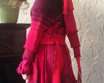 Red Riding Hood Childs Sweater Coat liripipe hood