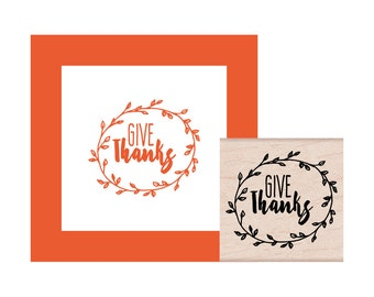 Give Thanks leaf circle Rubber Stamp