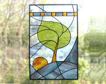 Stained Glass Panel Modern Blue Tree Stained Glass Window Panel CUSTOM MADE to ORDER - Windy Sunrise