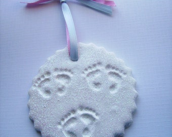 Tiny footprints on my heart- ornaments for triplets