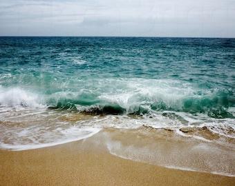 Aqua Ocean Home Decor, Aqua Wall Art Decor, Beach Print Poster Art, Prints For Bathroom, Bathroom Art Prints, Gold Art Print, Gold Art
