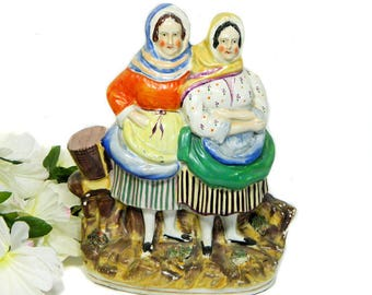 19th Century Antique Staffordshire Group Figure Fishermen's Wives Fish Sellers