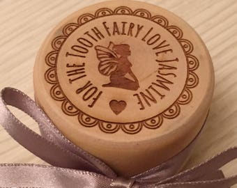 Personalised engraved wooden tooth fairy box