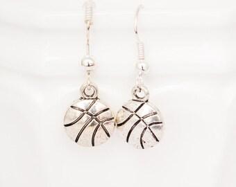 Silver Basketball Earrings - Sports Jewelry, Team Jewelry, Spirit Earrings
