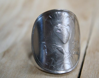 """GODDESS """"ATHENA"""" coin ring with sterling band size 9 1/2"""