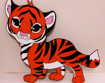 Baby Tiger Wood Wall Art Jungle Zoo Nursery Toddler Child's Boy's Girl's Bedroom Decoration Birthday Party Baby Shower Prop Decor