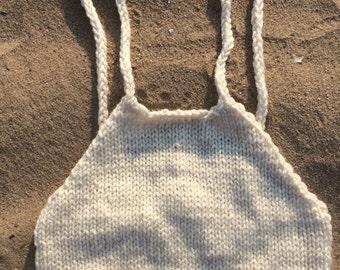 Vanila cream crochet top, Warm White halter top
