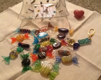 Murano glass candy and display plate! 22 pcs!
