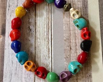 Skull Bracelet Multi Colored Stretchy Howlite Beaded, Sugar Skull, Day of the Dead