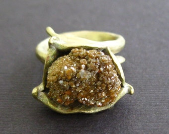 Raw Healing Drusy Druzy Bronze Ring Byzantine Medieval  Game of Thrones Lost Treasure