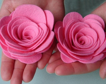 "Wool Felt Flowers -  XX Large Posies 3-1/2"" - Dimensional Flowers Set of 4"