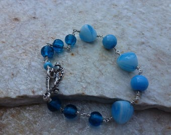 Vintage Blue and White Swirl Glass Bead and Sterling Silver Bracelet