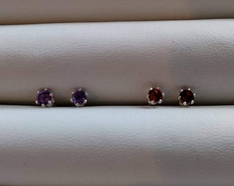 3mm silver birthstone earrings