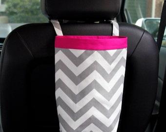 CAR TRASH BAG, Gray Chevron, Women, Gifts for her, Car Litter Bag, Auto Accessories, Auto Bag, Car Organizer, Headrest, Oilcloth Lined