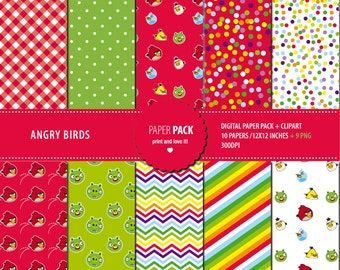 Digital Paper Pack and Clip Art Angry Birds Printable. 12x12 sheets 300 dpi scrapbooking + 9 PNG CLIPART