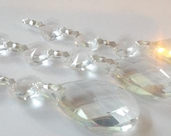 3 Asfour Chandelier Crystals Diamond Cut Teardrop Ornaments Clear Prisms Lead Crystal