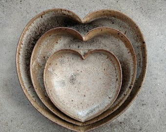 nesting ceramic heart bowls 4 inches - Stone Lodge grey - mothers day gift