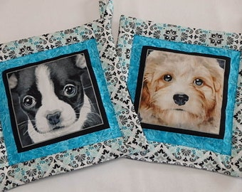 Dogs Potholders set, Quilted Dogs Hot Pads Set of Two, Unique Handmade Dog Pot Holders Gift