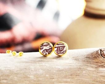Stud earrings hieroglyphics, brown, gold base 10 mm, inspiration ancient egypt, Women
