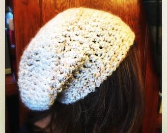 Crocheted Cream Slouchy Hat