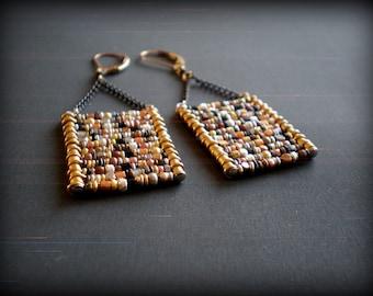 Mixed Metal Bead Earrings - Ladder Earrings - Geometric Earrings - Boho Jewelry- Rustic Jewelry - Dorijenn Signature - Gift Mother's Day