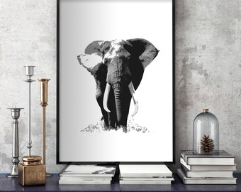 Elephant Wall Art | Digital Print | Black & White | BW Print | Wall Prints | Printable Art | Wisdom Animal