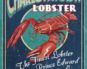 Prince Edward Island - Lobster Vintage Sign (Art Prints available in multiple sizes)