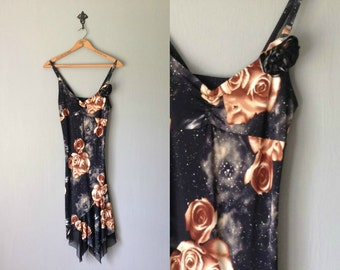 Vintage SPACE ROSE Dress • 1970s Clothing • Studio 54 Disco Style Sheer Sleeveless Scarf Point Hem Black Floral Print • Women Small Medium