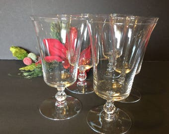Fostoria Ice Tea/Fostoria Water Goblets,Wedding Table,Formal Dining/Serving Set of 5 Fostoria Goblets, 8 ounce capacity Goblets,