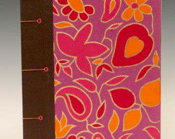 Hand-bound Journal with Maroon, Red and Orange Flower covers