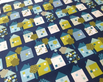 Printed fabric 100% cotton mustard houses