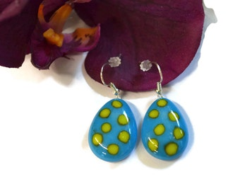 Polka Dot Easter Egg Earrings, Fused Glass, Easter Jewelry, Easter Accessories