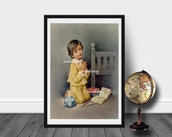 Nursery Art, Little Boy's Room Art, Bedroom Art, Guest Room Art,  Boy Saying Prayers  #448  FREE SHIPPING