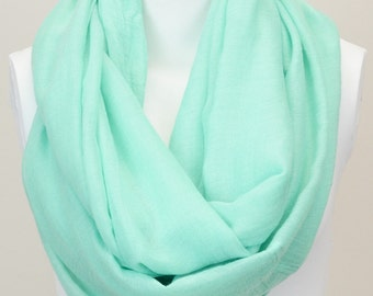 Basic Solid Infinity Scarf in Mint