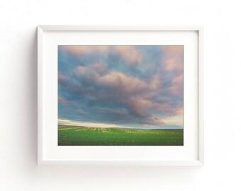 "landscape, landscape photography, clouds, field, large art, large wall art, canvas art, wall art canvas, large print - ""Watercolor Skies"""