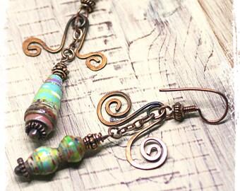 Gypsy earrings, Hippie earrings, Bohemian earrings for women, Mismatched earrings,  Boho earrings for her, Tribal earrings, Copper earrings
