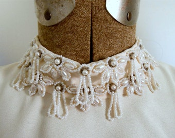 1960s Short Wedding Dress Emma Domb Beaded High Neck Ecru Gown