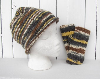 Cozy Warm Wool Knit Hat & Fingerless Glove Set for Men, Wool Knit hat and Glove Set for Women, slouchy beanie,Texting gloves, Ready to Ship