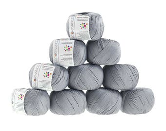 10 x 50g knitted yarn Dainty cotton, #232 Grey