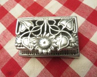 Vintage metal trinket box with flower motif  w/ free ship