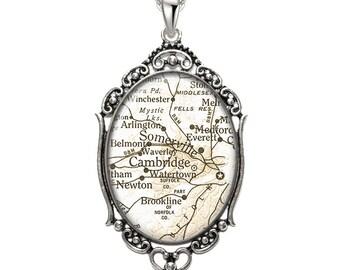 Map Pendant Cambride Somerville MA Oval Filigree Pendant City Massachusetts Necklace Art Pendant Photo Pendant Graphic Pendant
