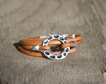 Leather Bracelet For Women, Triple Wrapped Leather Bracelet, Cuff Leather Bracelet, Silver Round Bead Bracelet, Cute Bracelet For Her.