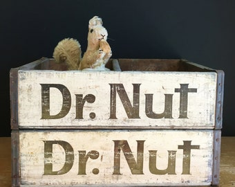 Vintage Dr. Nut soda crate, industrial decor, New Orleans soda, soda pop crate with advertising, primitive wood crate, bottle crate