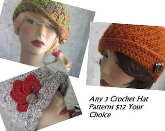 Crochet Hat Patterns Any 3 Your Choice Childrens Hats Womens Hats No EU VAT Tax